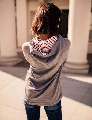 Out and About Stripe and Button Hoodie