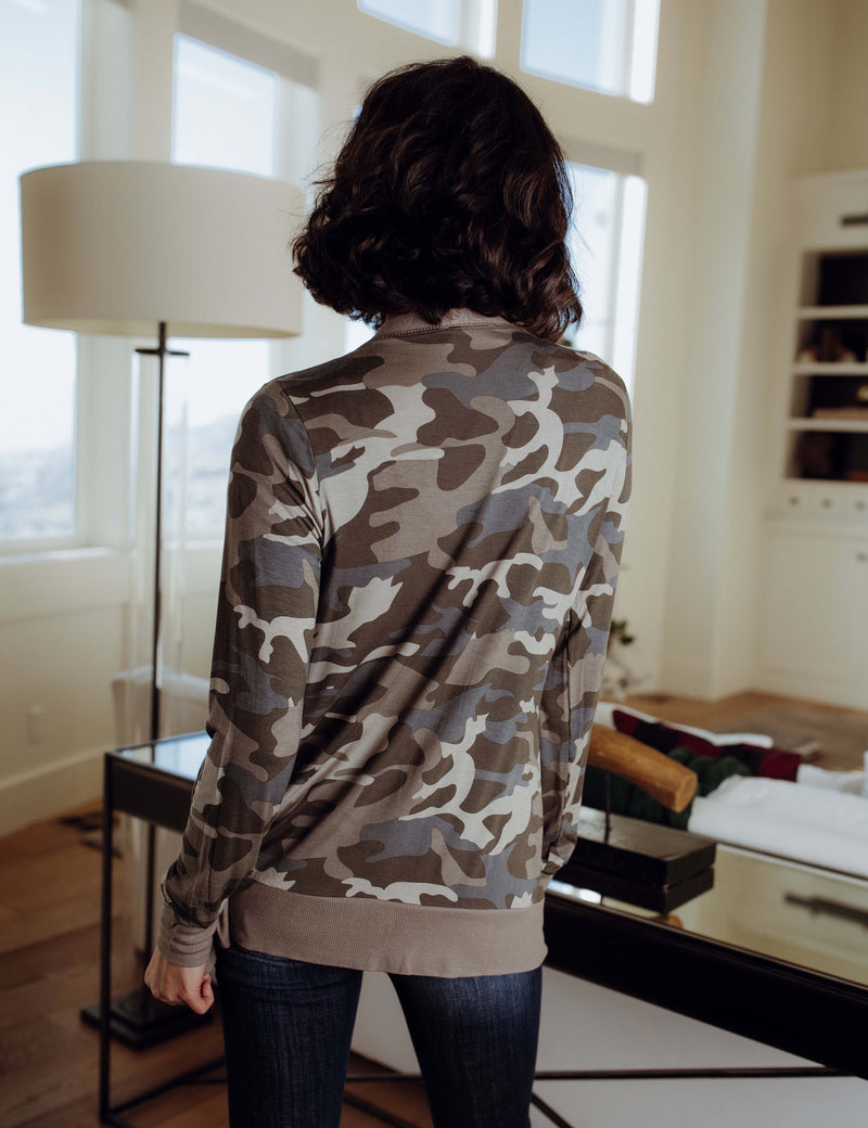 Out In The World Camo Cardigan