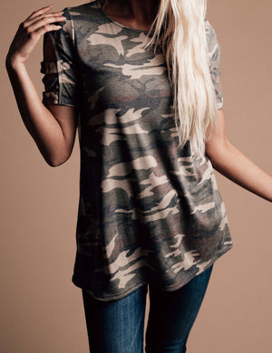 Step Out of Line Camo Top