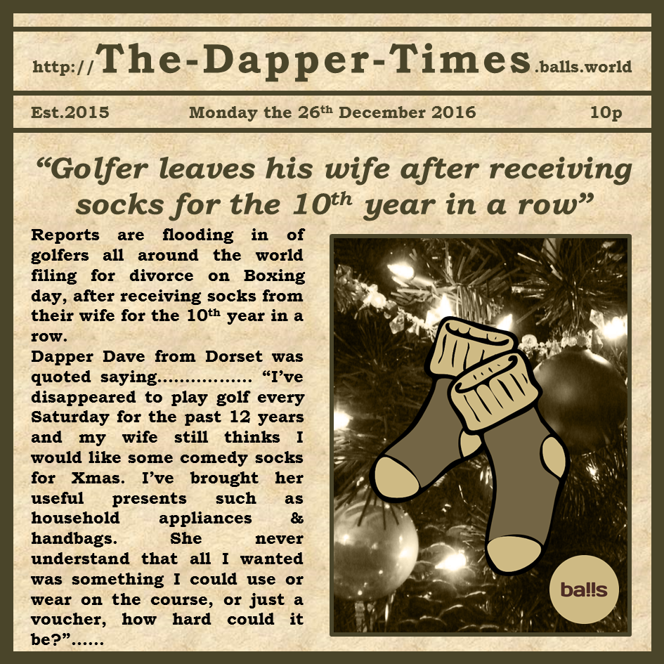 """Golfer leaves his wife after receiving socks for the 10th year in a row"""