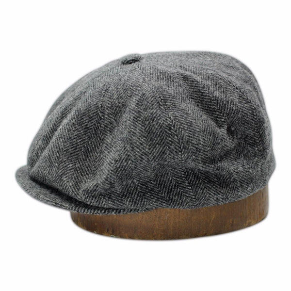 The Bruce Cap - Charcoal Herringbone Wool