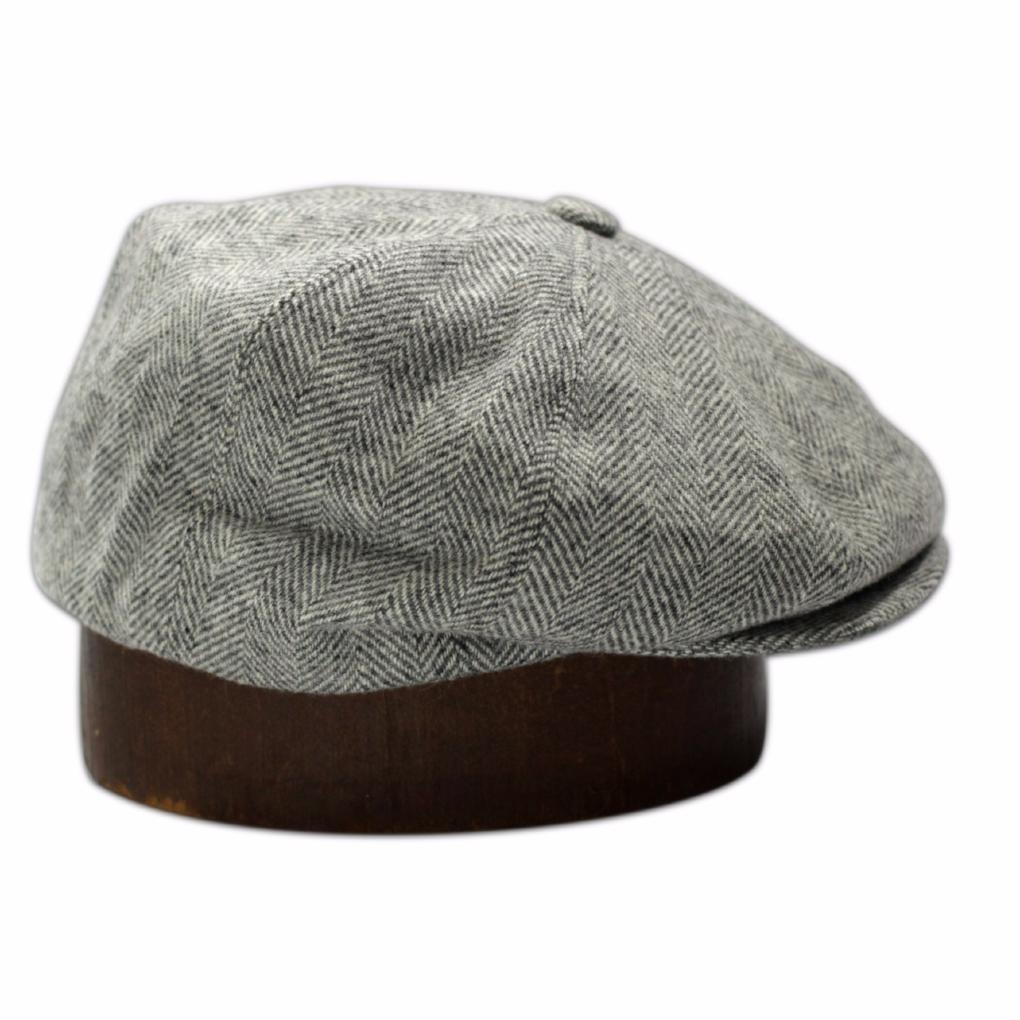 The Bruce Cap - Grey Herringbone Wool