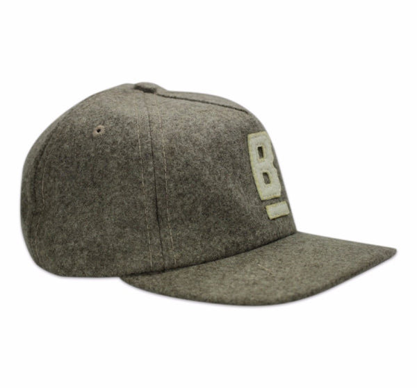 B Flat Bridge and Burn wool cap Taupe with white B