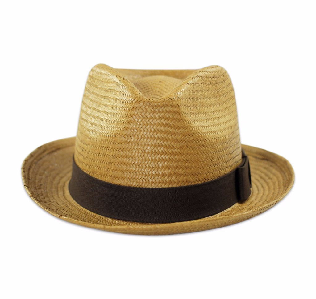 Williamsburg Straw Fedora - Brown