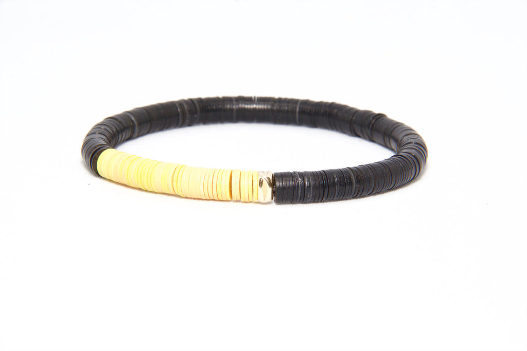 Men's African Vinyl Beaded Bracelet - Black + Green/Blue/Yellow