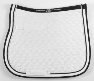 Saddle Pad White with White or Black Cord Trim by USG