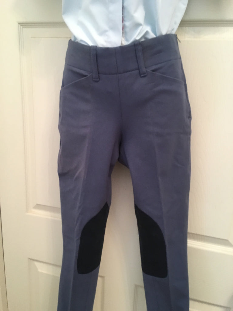 Grand Prix Ladies Hampton Microfibre Knee Patch  Breeches Side Zip Gray CLOSEOUT
