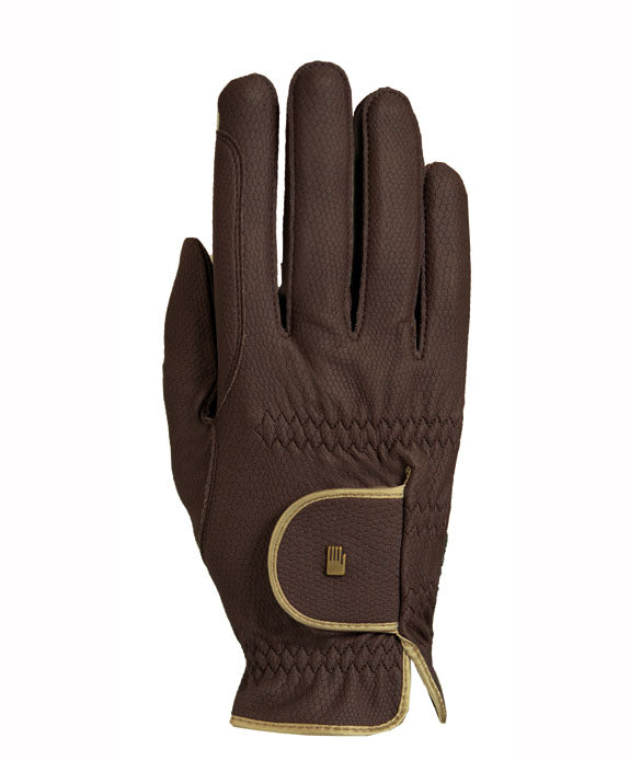 Roeckle gloves brown with gold piping