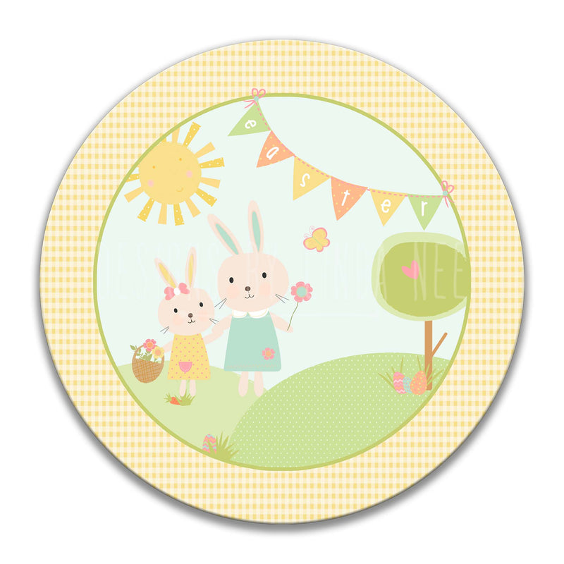 Bunny Mother and Child Under Easter Flag Round Magnet