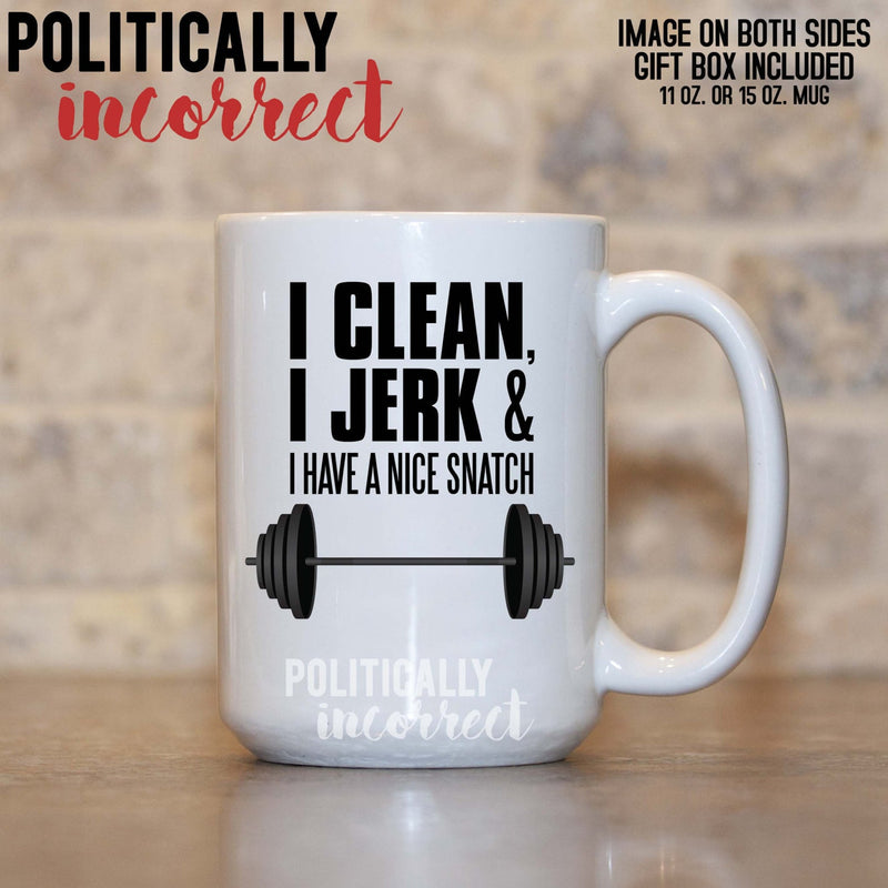 Clean Jerk Snatch Weightlifting Mug 15oz White Mug