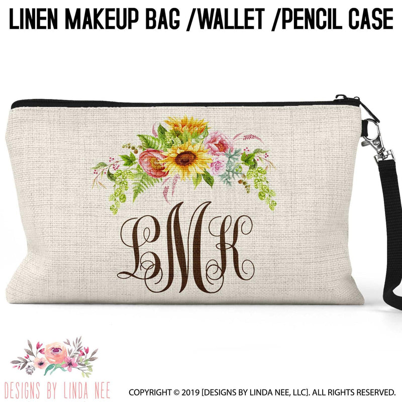 Sunflower swag over script font monogrammed linen cosmetic bag