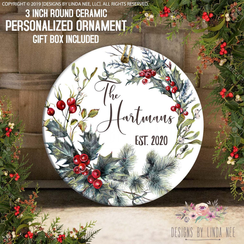 The Hastmans EST. 2020 Hollybush/Pine Tree arrangement Personalized Ornament