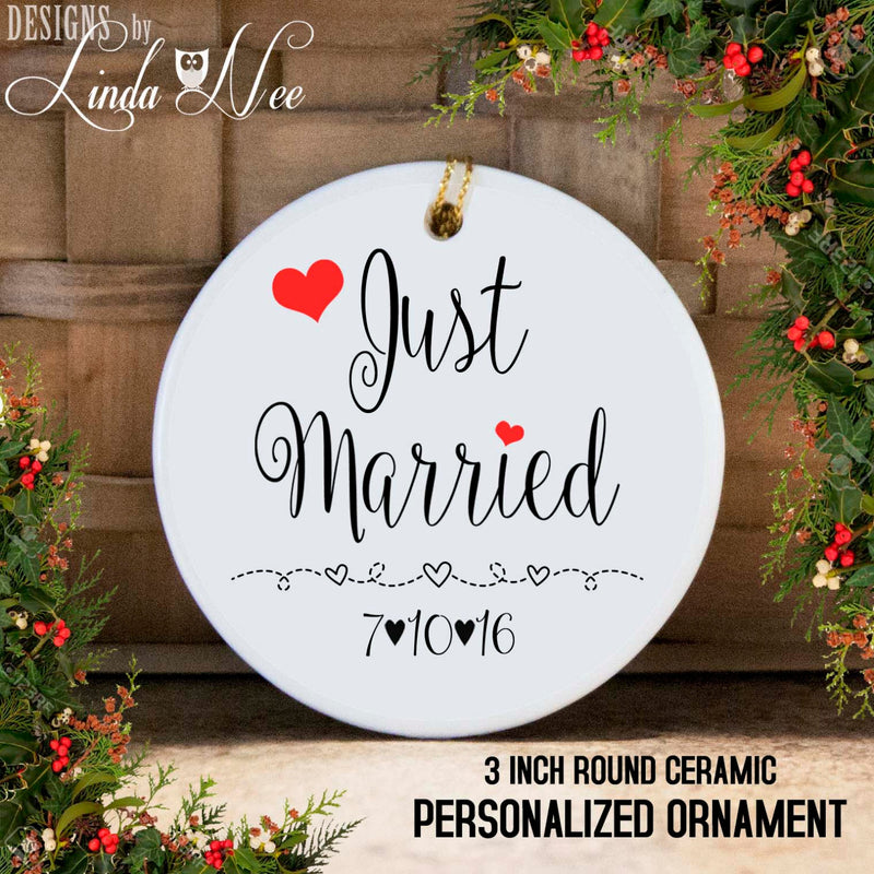 Dated Just Married Christmas Ornament