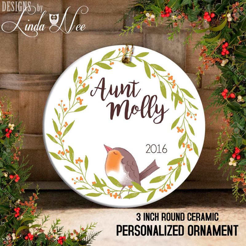 Personalized Aunt Bird Ornament