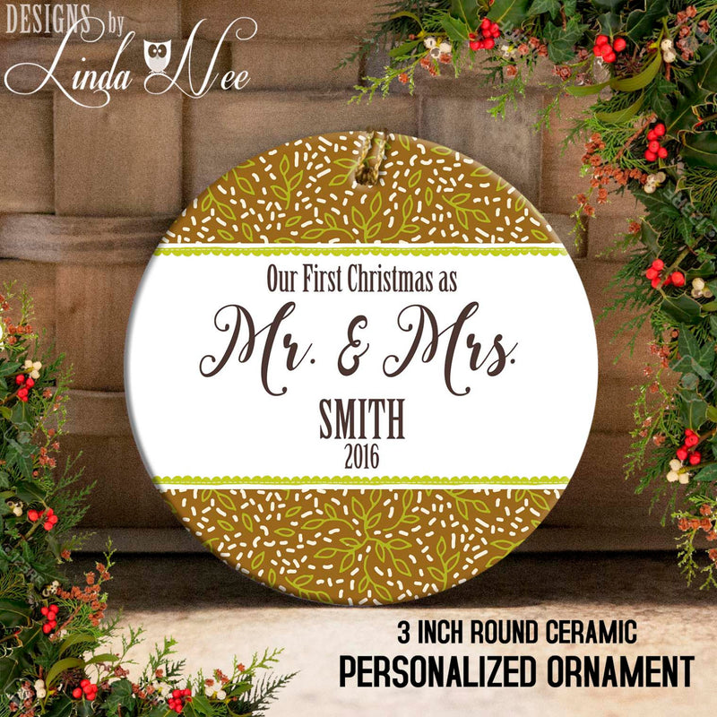 Our 1st Christmas as Mr. & Mrs. Mini Floral Sage Print Ornament