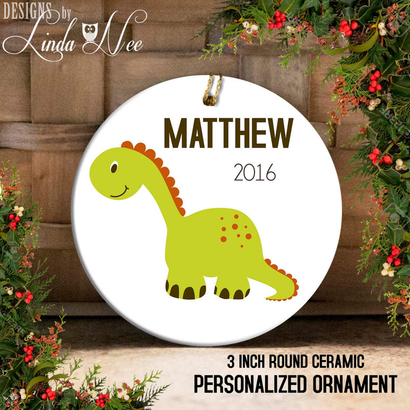 Kids' Green Brontosaurus Dinosaur Ornament