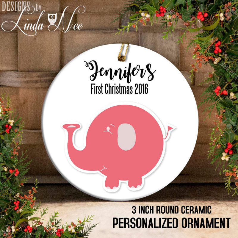 Baby's 1st Christmas Pink Elephant Ornament