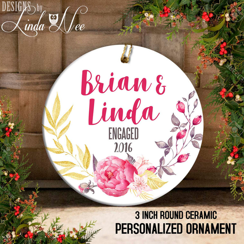 Peony Swag Engaged Ornament