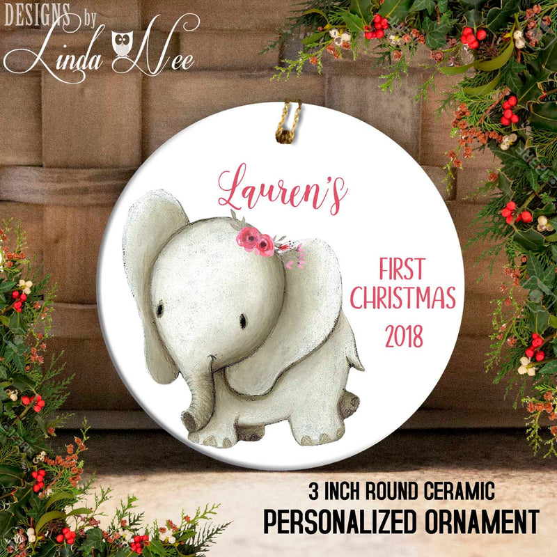 Baby Elephant with Rosette Barrettes Baby's 1st Christmas Ornament