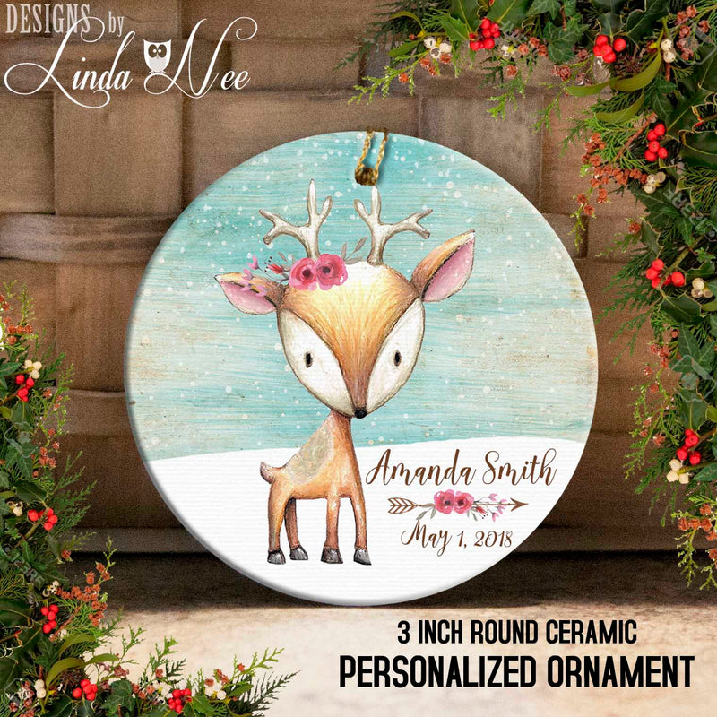 Baby Deer with Floral on Snowy Scene Personalized Ornament