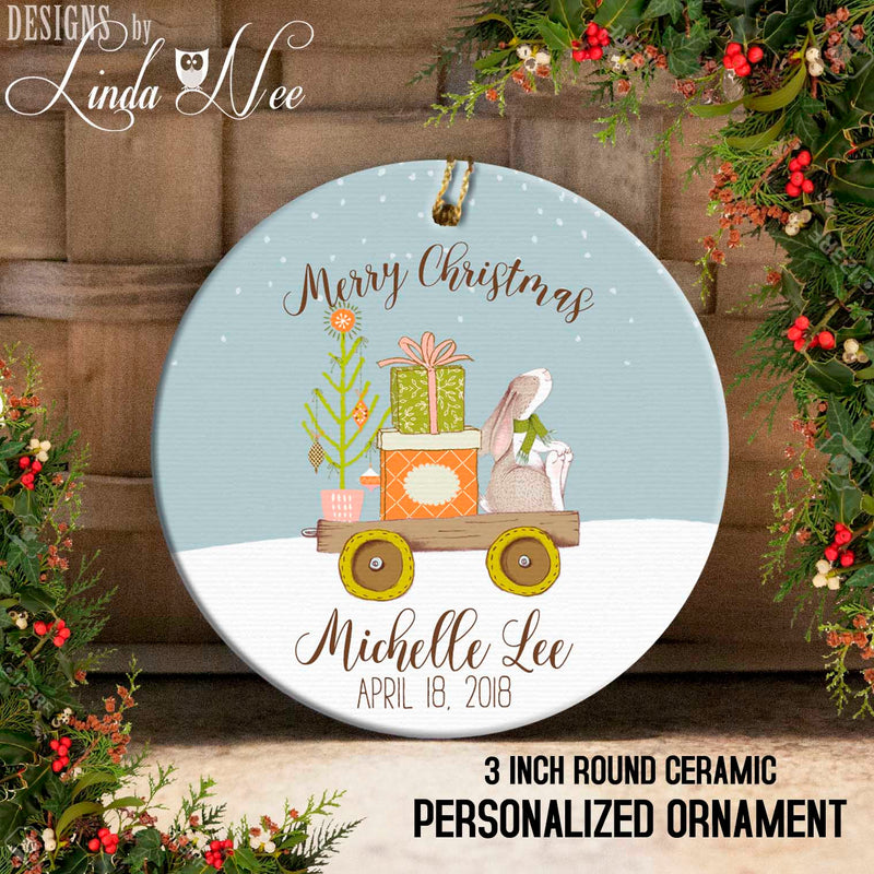 Bunny on Wagon with Gifts and Tree Personalized Ornament