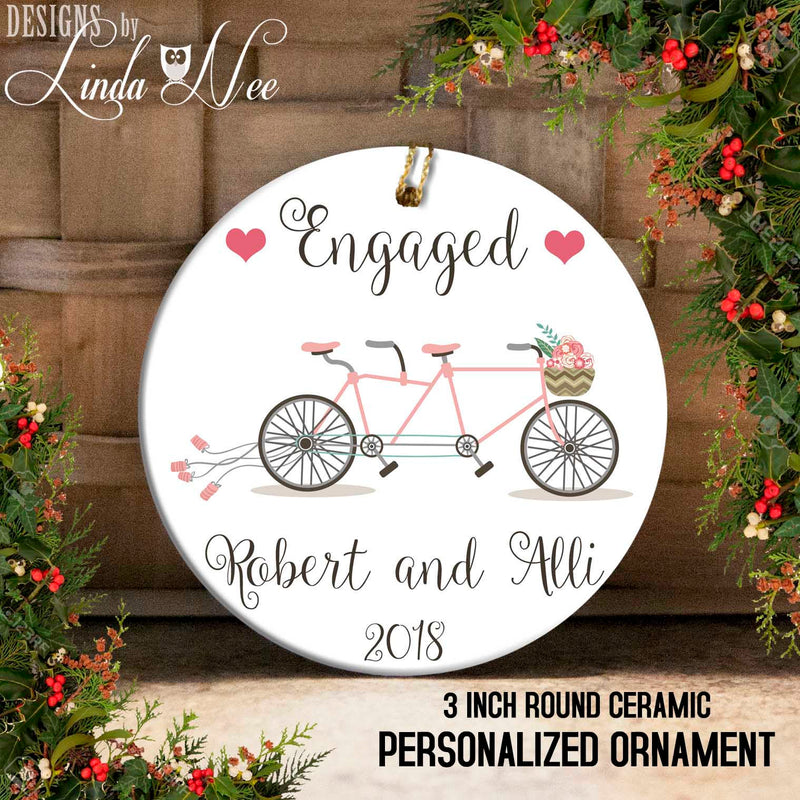 Tandem Bike Personalized Engaged Ornament