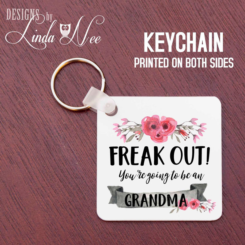 White square key tag with Freak Out You're Going To Be A Grandma Banner with rosettes