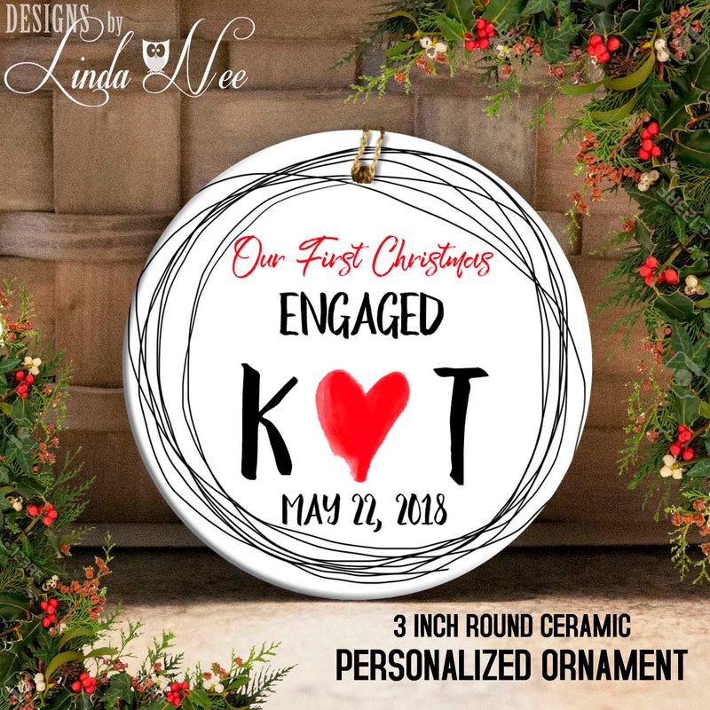 Initials and Heart Just Engaged Ornament