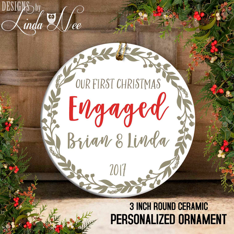 Gold Laurel Wreath 1st Christmas Engaged