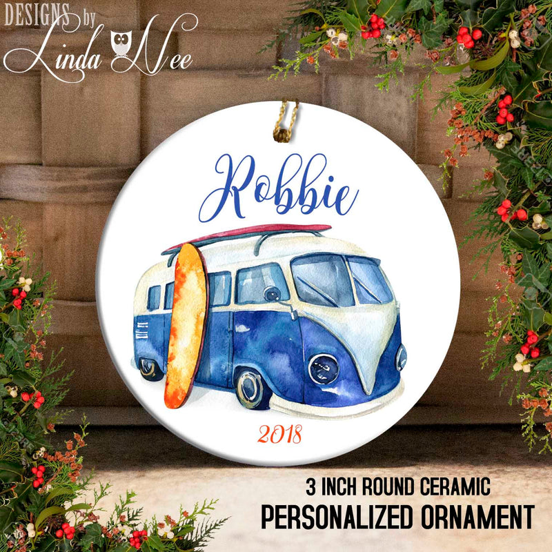 Personalized Surfer Ornament with Blue VW Bus