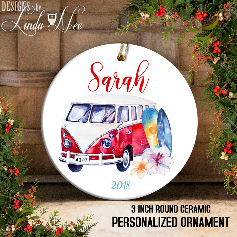Personalized Surfer Ornament with Hibiscus Red VW Bus