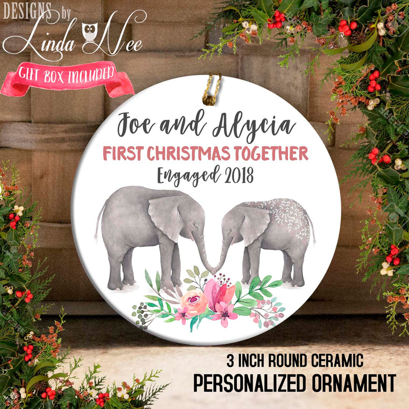 Elephant Duo Kissing Our 1st Christmas Engaged Ornament