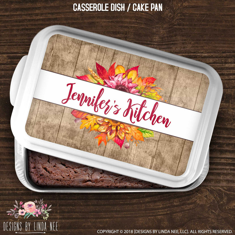 cake pan cover with rustic stockade fence and autumn bouquet under name banner