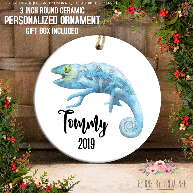 Blue Chameleon Personalized Ornament