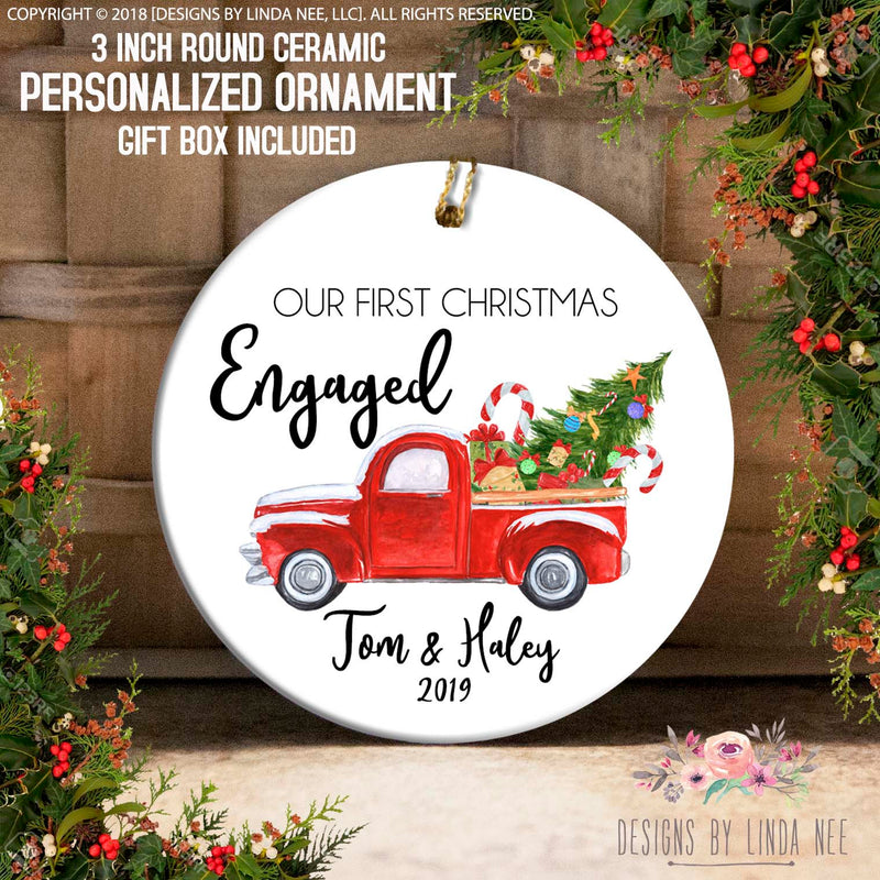 Our 1st Christmas Engaged Truck Personalized Ornament