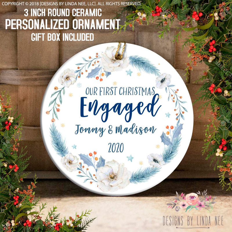 Blue Feather and White Anemone Engaged Ornament