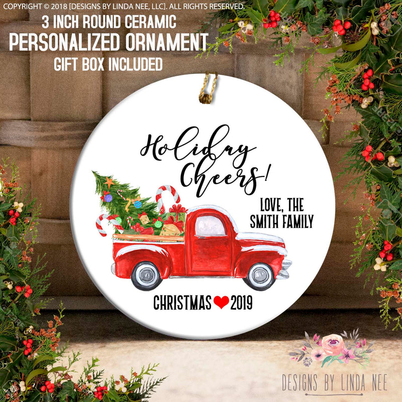 Red Truck Holiday Cheers Family Ornament
