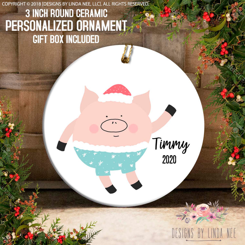Cute Pig Personalized Ornament