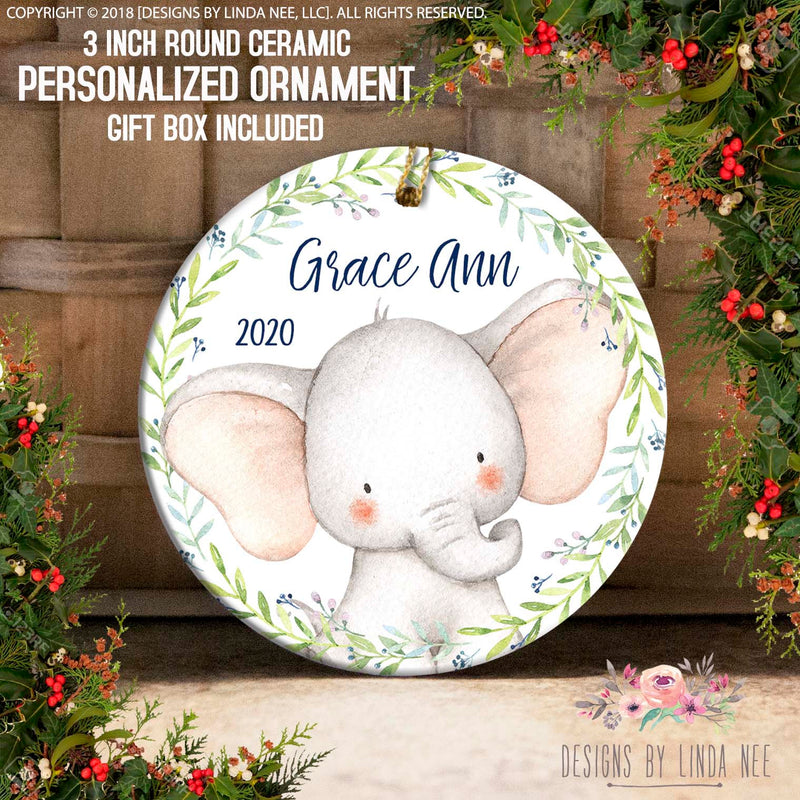 Grace Ann 2020 Baby Elephant Head Personalized Ornament