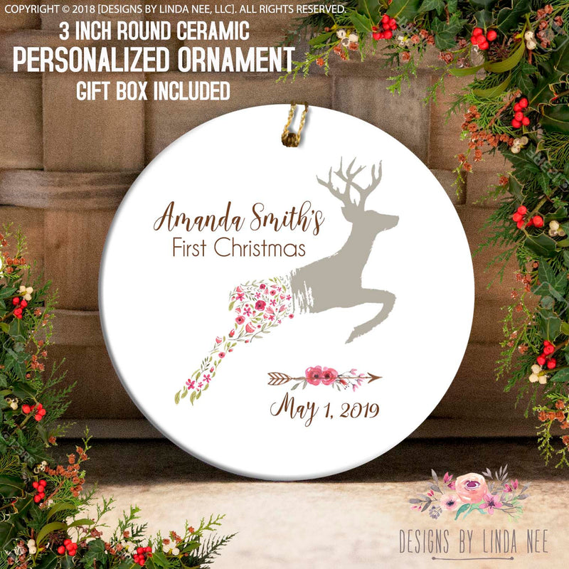 Floral Reindeer with Arrow Baby's 1st Christmas Ornament
