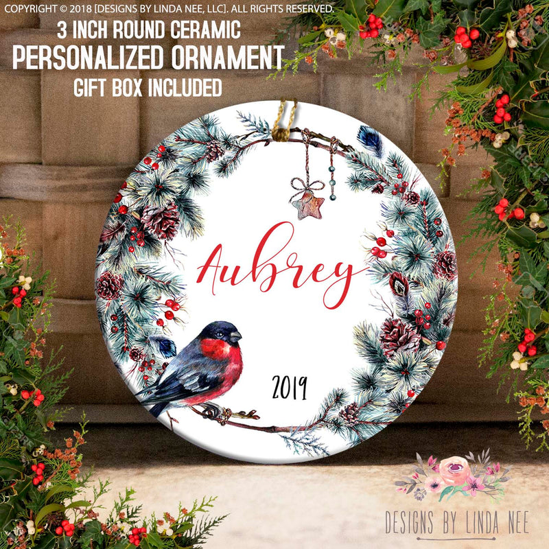 Bird on Pinecone Wreath Personalized Ornament