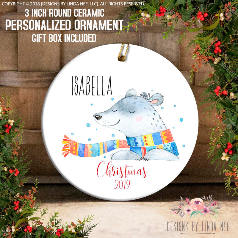 Smiling Bear with Scarf Personalized Ornament
