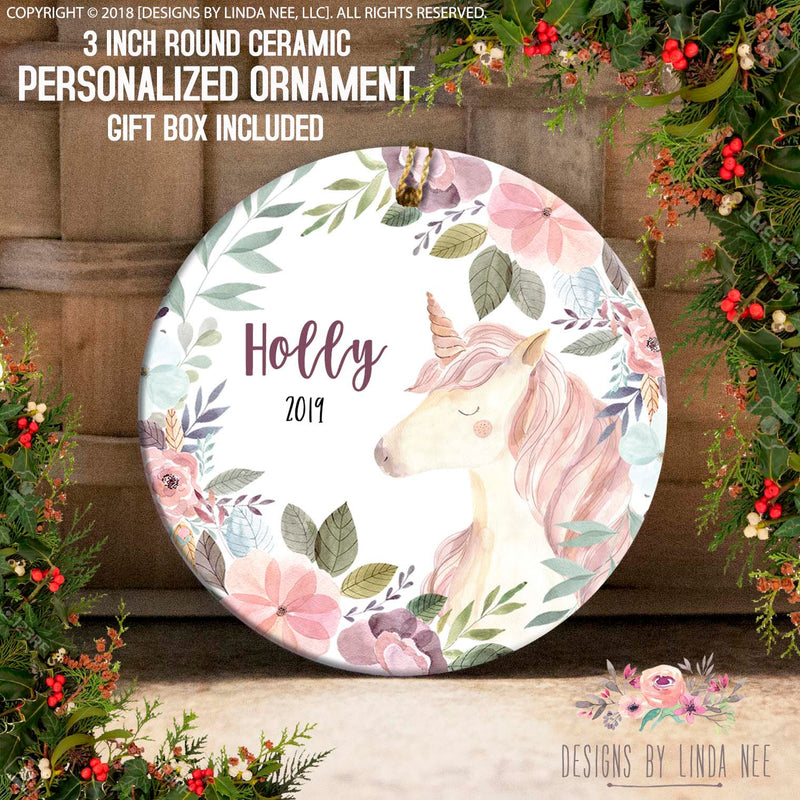 Unicorn with Floral Wreath Personalized Ornament