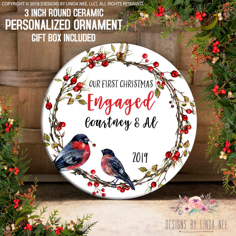 Bird on Holly Berry Wreath 1st Christmas Engaged Ornament