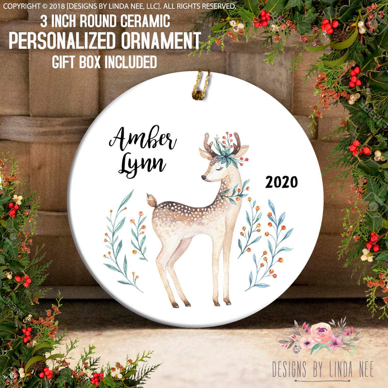 Reindeer and Holly Berries Personalized Ornament