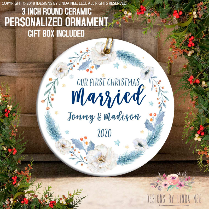 Our first christmas married jommy & Madison Blue Feather and White Anemone 1st Christmas Ornament