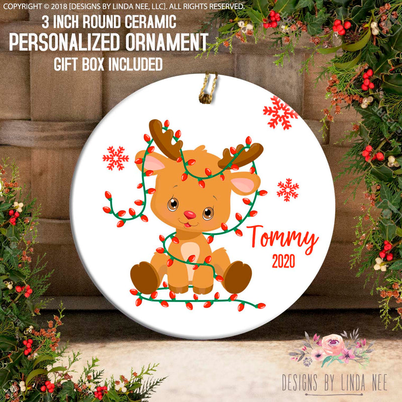 Baby Reindeer Wrapped in Lights Personalized Ornament