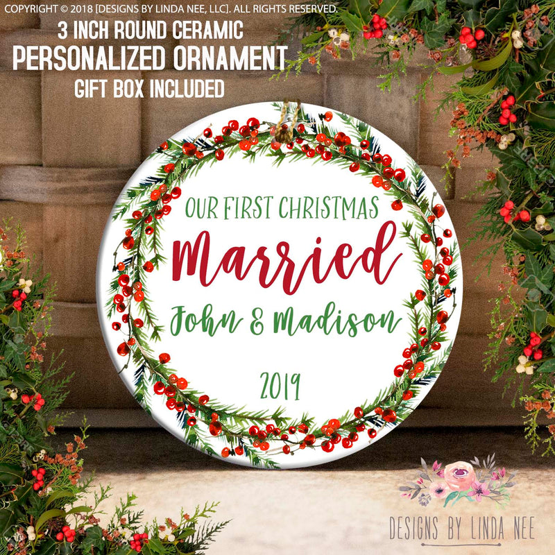 Holly Pine Vine Married Ornament