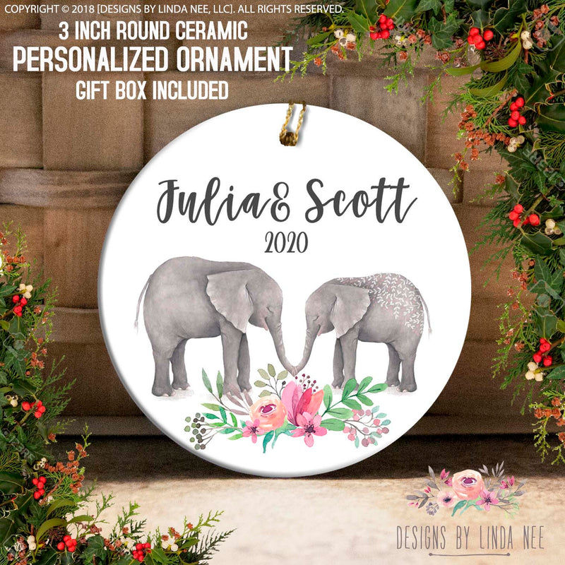 Julia & Scott 2020 Elephant Duo Kissing Personalized Ornament
