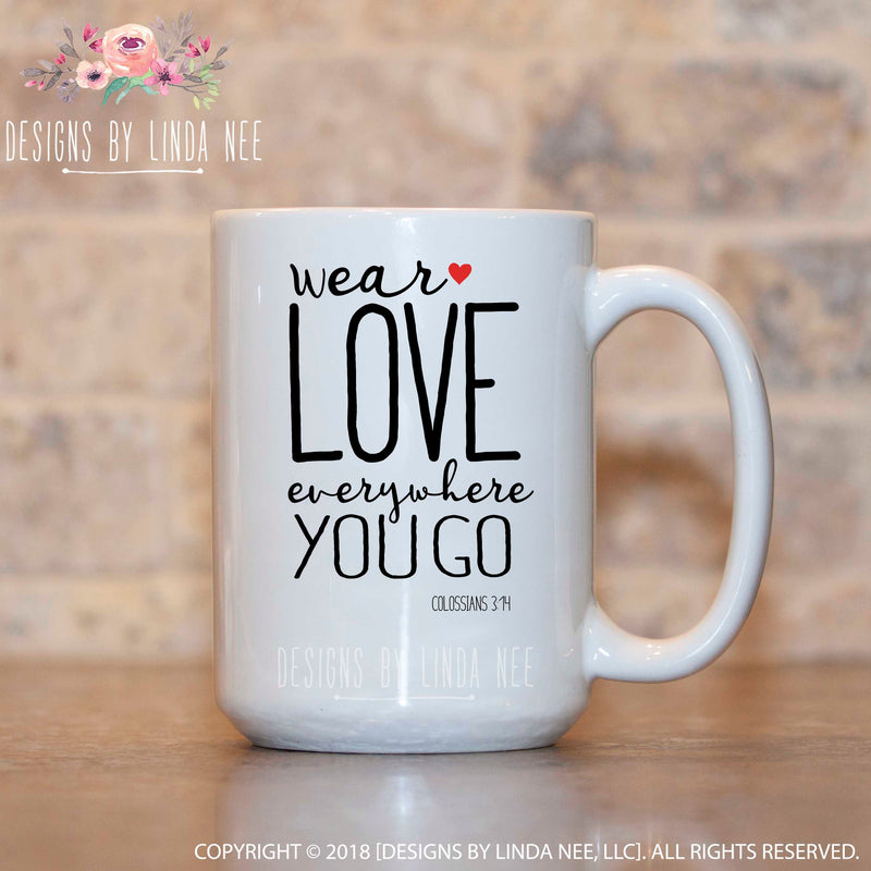 White Mug with Scripture from Colossians 3:14 in black ink